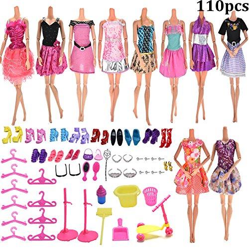 Jettingbuy, 10 Barbie-Kleider, 100 verschiedene Barbie-Accessoires wie Schuhe, Brillen, Halsketten, Krone und Spiegel (Danke Barbie)
