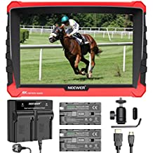 Neewer NW-A7S 7 Inches Camera Field Monitor Kit - 4K 1920x1200 IPS Screen Field Monitor,2-pack NP-F550 Replacement Li-ion Battery, Dual Channel Charger for Sony Canon Nikon Olympus DSLR Cameras