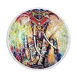 XIAOBAOZISTJ Asciugamano Tondo da Spiaggia Arazzo Elefante Indiano Mandala Stampa con Frange Spessa E Morbida Coperta da Picnic Hippie Asciugamano da Bagno Stuoia da Yoga (Elefante Colorato)