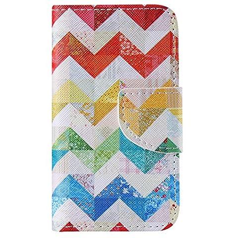 Nancen Apple iphone 4 / 4S (3,5 Zoll) Handy Lederhülle, Flip Case Wallet Cover with Stand Function, Folio Bookstyle Handytasche Soft Silikon Bunte Muster Tasche PU Leder Slim Shell