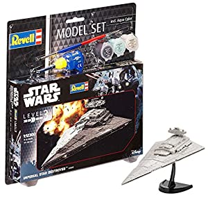 Revell Darth Vader Wars Set Imperial Star Destroyer, en Kit Modelo con Base Accesorios, fácil Pegar y para pintarlas, Escala 1:12300 (63609), 13,0 cm de Largo