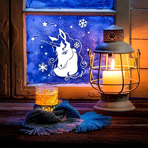 ilka parey wandtattoo-welt Fensterbild Einhorn im Winter Fensterbilder Fensterdeko 23 x 20cm + Schneeflocken Sterne und Punkte selbstklebend für Kinder M2250