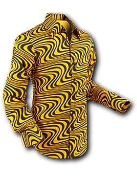 Chena per camicia Wavyline Yellow da sci Black, Retro 70s