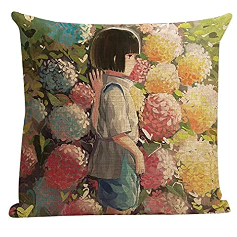 DSL&HXY Shoulder-length hair girl lkwu1163 Decorative Cotton Linen Blend Throw Pillow Cover Square Pillow Case Cushion Cover 18 x 18 Inches Griffith.MJ