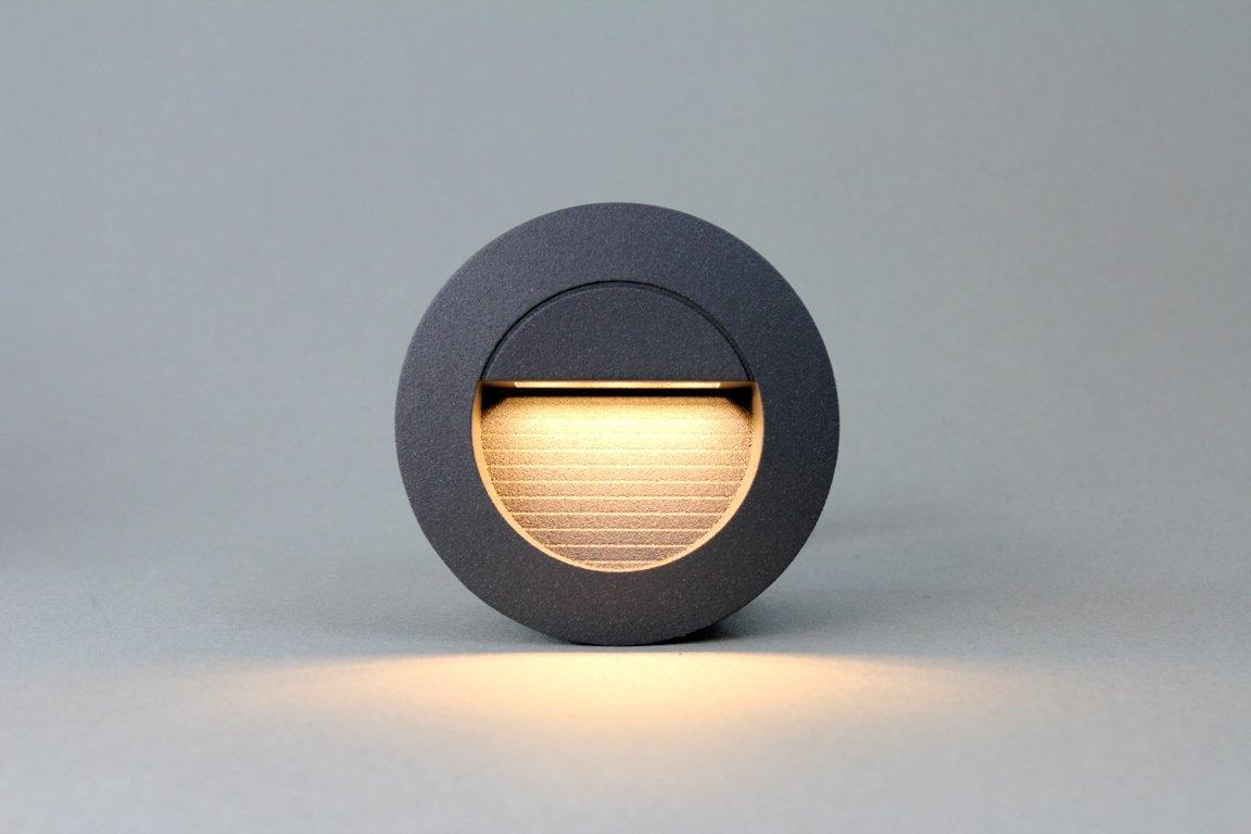 4x 1,2w LED Wandleuchte Stiegen Einbauleuchte Warmweiß Stiegenbeleuchtung Für  Innen Und Außen Stiegenleuchte Treppenlicht IP65 (Anthrazit Rund):  Amazon.de: ...