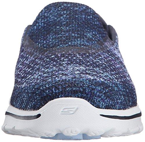 Skechers Go Walk 3 Glisten, Baskets Basses Femme Bleu - Blue (Nvw)