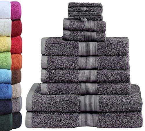 Green Mark Textilien 10 tlg. Frottier Handtuch-Set mit Verschiedenen Größen 4X Handtücher, 2X Duschtücher, 2X Gästetücher, 2X Waschhandschuhe | Farbe: Anthrazit Grau | Premium Qualität (Handtücher)