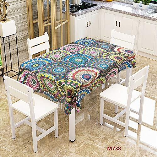 QWEASDZX Tischdecke Polyester Mandalas Anti-Verschmutzung Ölbeständige und wasserfeste Tischdecke Wiederverwendbarer rechteckiger Tisch Geeignet für Innen und Außen 140x200cm
