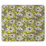 Tappetino per mouse floreale, campo in fiore di papavero in scala di grigi sui toni retrò di Meadow Valley, tappetino per mouse in gomma antiscivolo
