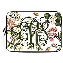 Custom Floral Computer para MacBook Air 10pulgadas Monogram Lilly PULITZER Laptop Sleeve estilo bohemio flor Carcasa del ordenador Netbook sobre funda para HP Tablet Acer Laptop Case, Colour 3, 11.6/12 inch