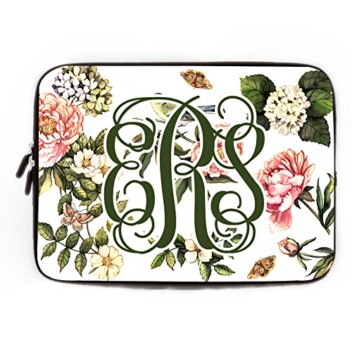 Personalized Fall Leaves Computer Sleeve with Rose