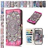 E-Mandala iPhone 5 5S SE Hülle Leder Flip Case Wallet Tasche handyhüllen Silikon 3D Muster Schutzhülle Lederhülle mit Kartenfach Klapphülle Handytasche - Mandala