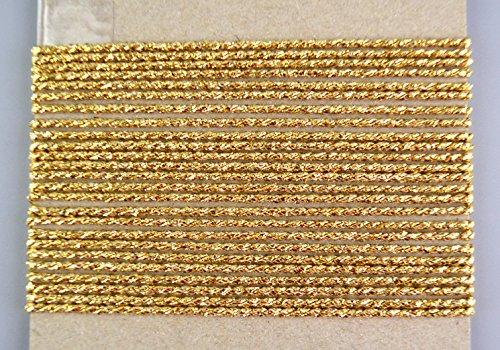 Kordel Gold 5 m x 2 mm (0,76€/m) Schnur Kordelband Lurexkordel Dekoband Geschenkband Drehkordel metallisch ohne Draht Weihnachten