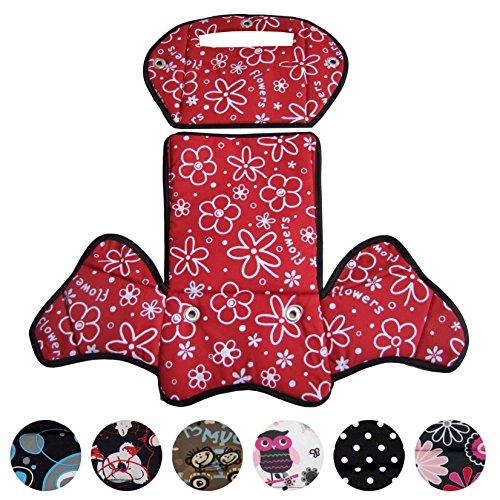 BambiniWelt24 BAMBINIWELT Ersatzbezug, Sitzkissen, Bezug für Fahrradsitz, Modell RÖMER Jockey (Modell 4, Design) (Flowers rot)