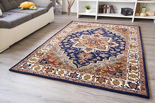 Orientteppich Royal Sarough in Blau Handarbeit Orient Teppich aus Schurwolle, Größe: 70x270 cm -