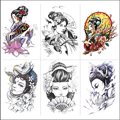 ruofengpuzi Geisha Tattoo Aufkleber Wasserdicht Männer Und Frauen Anhaltende Blume Arm Sakura Schönheit Ukiyo Painted Arm Körper Painted Simulation Tattoo 14,8X21 cm (Geisha Halloween Kostüm Make-up)