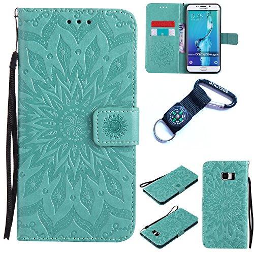 Preisvergleich Produktbild Galaxy S6 Edge Plus Hülle Blume Premium PU Leder Schutzhülle für Samsung Galaxy S6 Edge Plus Bookstyle Tasche Schale PU Case mit Standfunktion+Outdoor Kompass Schlüsselanhänge) #Q