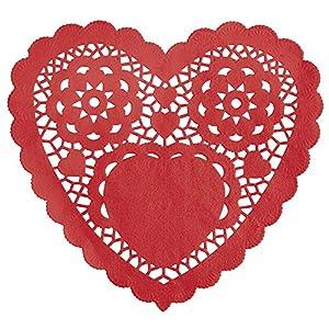 Unique Party 6289315cm rojo corazón papel blondas, pack de 30