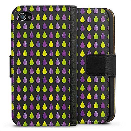 Apple iPhone X Silikon Hülle Case Schutzhülle Regen Tropfen Muster Sideflip Tasche schwarz