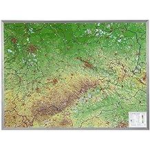 Sachsen Gross 1:325.000 mit Alurahmen: Reliefkarte Sachsen mit gebürstetem Alurahmen