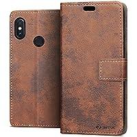 RIFFUE Xiaomi Mi A2 (Mi 6X) Hülle, Retro Handyhülle Vintage PU Leder + TPU Case Tasche Cover Schutzhülle für Xiaomi Mi A2 / Mi 6X (5,99 Zoll) mit Kickstand und Card Slots - Braun