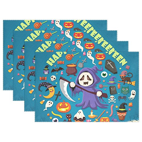 Weihve Tischsets, abwischbar, Halloween-Totenkopf-Design, Jack-O'-Lantern Fledermaus, Polyester-Mischgewebe, Multi 01, 12 x 18 Inch