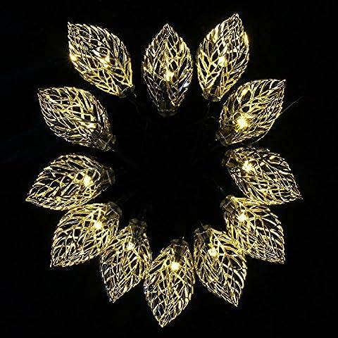 Xcellent Global cadena con 12 LED con forma de hoja de metal amarillo claro ornamento para jardines de 2 Modos Luz LED solar para Navidad, boda, Patio. M-LD107
