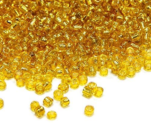 450g Rocailles 2mm Perlen Gold Topas Silbereinzug Glasperlen Indianerperlen 30000 Kugel A39