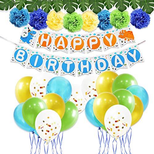 WERNNASAI Dinosaurier Party Dekoration Set - Geburtstag Party Deko für Jungen Enthalten Happy Birthday Banner, Latexballons, Papier Pom Poms, Farbbänder, künstliche Monstera Blätter 43PCS