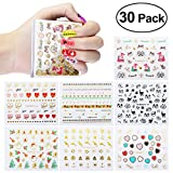 ETEREAUTY Nail Stickers Decals, Hearts, Black, White, and Metallic 3D Designs, 30 Sheets (style2)