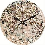 PMFS Vintage Carte du Monde Horloge Murale Silent Living Décoration Murale Art...