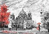 DekoShop Fototapete Stadt / städtisch,Abstraktion und Kunst Berlin P4 (254cm. x 184cm.) Moderne Wanddeko Wandtapete Wand Dekoration AMD11513P4 Stadt Malerei Berlin Baum Stuhl Frau Mann Fremde Tapetenkleister Gratis