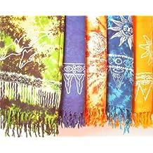 STAMPBATIK Sarong, toalla de playa, pareo, falda, varios colores, amarillo/