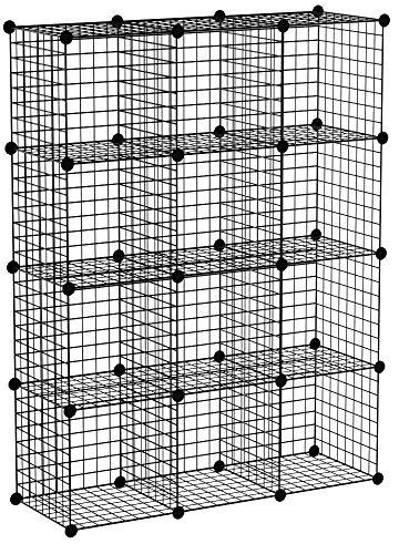 Meerveil Étagère de Rangement Armoire Cube Étagère à Livres en Grilles Métalliques Rangement de Vêtements Étagère Multifonction pour Livres, Jouets, Vêtements 12 Cubes Noir (111x37x147cm)