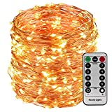 #5: 10M 100LED Copper Wire Battery Operated with Waterproof Battery Box and Remote and 8 Mode Functions Copper Wire LED Fairy String Lights (Warm White)