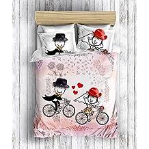 Tema amor floral 3D Original 100% Algodon funda nordica Doble Funda ropa de cama