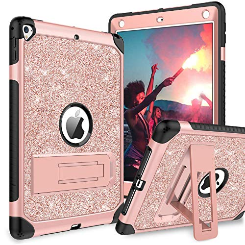 BENTOBEN Case for iPad 9.7 2017/2018/Pro 9.7/Air 2, Glitter 3 Layer Full Body Protective Kickstand Durable Leather Shockproof Girls Women Kids Tablet Cover for Apple iPad 9.7/Pro 9.7/Air 2, Rose Gold