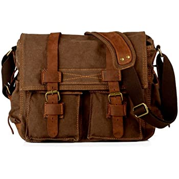 Laptop Bag 14.5 inch Mens Vintage Casual Canvas Messenger Bag Men s  Military Leather Canvas Travel Briefcase Crossbody Satchel Shoulder School Bag  for ... f16970972ddd3