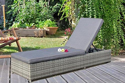 Au Jardin de Chloé - Bain de soleil à roulette en résine tressée plate haut de gamme - ODESSA - Gris Beige - 1 place