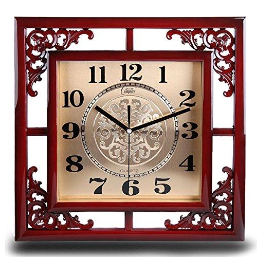 _ Super Kreative Uhr Wanduhr Quarz - Uhr Kreative Chinesische Antike Kreative Wohnzimmer,Rote Holz Gold