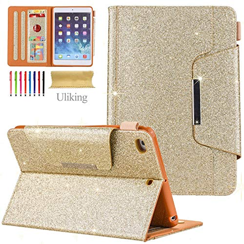 Uliking iPad Mini 4, iPad Mini 4321Fall, PU Leder Smart Cover mit Auto Sleep/Wake Standfunktion Kartenfächer Schutzhülle Shell für Apple iPad Mini 4. 3. 2nd 1th Gen Tablet, 05 Gold, 20 cm (1 Mini Fall Ipad)