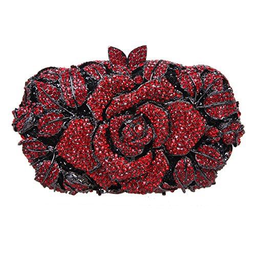 Bonjanvye Shining Studded Rhinestone Rose Flower Clutch Purses and Handbags for Ladies Red Red