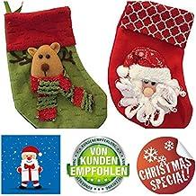 2 x Papá Noel calcetín | Botas | calcetín de Navidad | Reno y Papá Noel