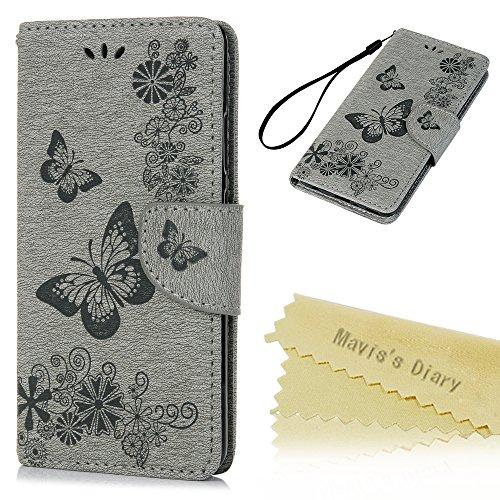 Mavis's Diary Case für Huawei P10 Plus PU Leder (TPU innere Schicht) Tasche Flipcase Druck Schmetterling Schutzhülle mit Kreditkarteninhaber Kippständer Magnetverschluss Handyhülle Grau