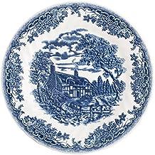 Churchill Brook Blue - Vajilla de loza inglesa, tamaño 18 piezas, color blanco y azul