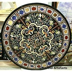 """60""""redondo de mármol negro mesa de comedor Carátula. Diseño único y Pietra Dura arte"""