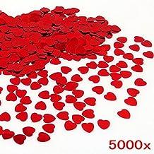 JZK® 5000 pz 1cm scintillante plastica coriandoli cuore rossi cuoricini decorazione tavolo per matrimonio compleanno San Valentino battesimo addio al nubilato
