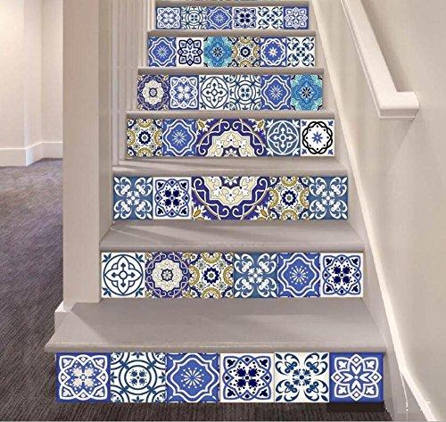 Stair Aufkleber DIY 3D Wand-Aufkleber Wasserdichte befestigte Schritt-Aufkleber-Simulations-keramische Fliese Wohnzimmer SelbstklebendRefurbished umweltfreundliche PVC-Tapete Wandgemälde-Kunst-Ausgang -