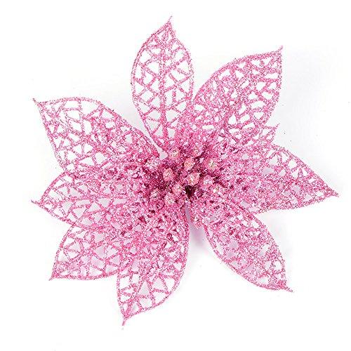 10 fiori artificiali glitterati intagliati, decorazione per matrimoni, feste, albero di natale, ghirlande, pvc, rosa, diameter15cm