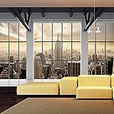 murando - Fototapete 350x245 cm - Vlies Tapete - Moderne Wanddeko - Design Tapete - Wandtapete - Wand Dekoration - Stadt City New York Panorama Fenster c-A-0074-a-b